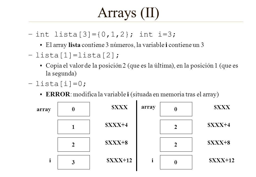 Arrays (II) int lista[3]={0,1,2}; int i=3; lista[1]=lista[2];